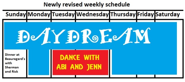 Newly revised weekly schedule