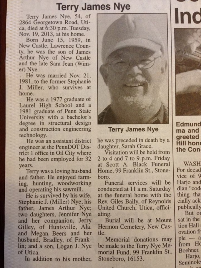 Jenn Nye father obit 2013-11-21