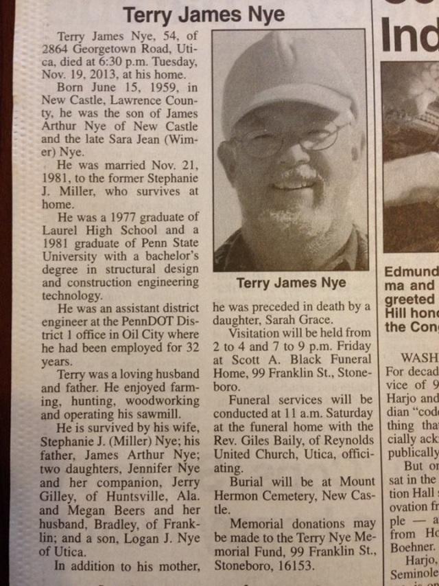 Jenn Nye father obit 2013-11-21